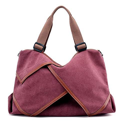 Valleycomfy Damen Taschen Große Kapazität Segeltuch Retro Blume Handtaschen Umhängetasche Henkeltaschen Schultasche Shopper Bowlingtaschen, Rot