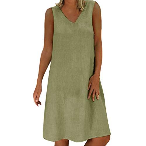 XuxMim 1950er Ärmellos Vintage Retro Spitzenkleid Rundhals Abendkleid(Grün-2,XX-Large) -