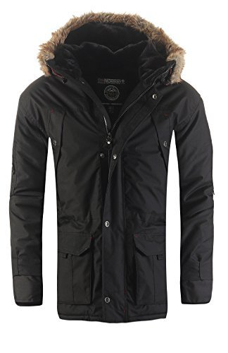 Geographical Norway Atlas Herren Winter Jacke Parka Parker Schwarz Gr. L (Bücken Handschuhe)