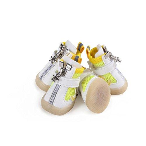 YJYdada 4 Stück Hunde Outdoor Sport Atmungsaktiv Netze Welpen Soft Bottom Schuhe 5 gelb