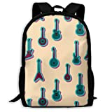 TRFashion Sac à Dos Blue Guitars Art Fashion Outdoor Shoulders Bag Durable Travel Camping for Kids Backpacks