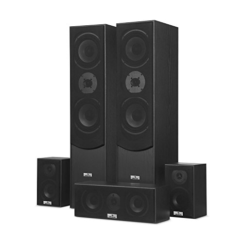 auna Surround Lautsprecher Boxen Set • Surround Sound-System • Heimkinosystem • Bassreflex-Chassis • 335 W RMS • max. 1.150 W Gesamtleistung • Wandmontage möglich • 5 Boxen • inkl. Kabelset • schwarz - 5