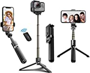 Selfie Stick Tripod, 40 Inch Extendable Selfie Stick Tripod with BT4.0 Wireless Remote Control,More Stable Alu