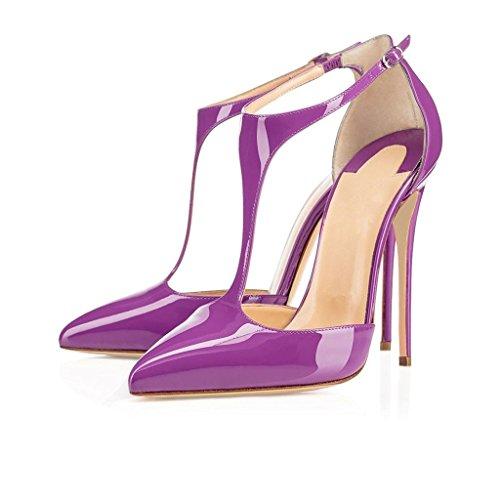 EDEFS Damenschuhe T-Spangen Übergröße Stilettos Knöchelriemchen Pumps Hoch Absatz mit Schnalle Violett