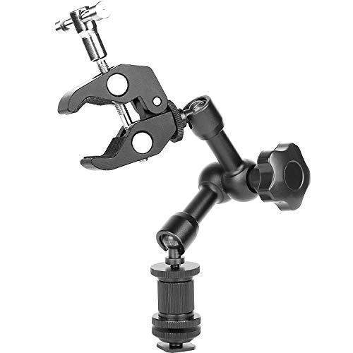 Cikuso Magic Arm 7 Zoll Articulating Friction Arm Super Clamp Adjustable Rod Klemmzange Clip Mit 1/4 Zoll Und 3/8 Zoll Gewinde Für DSLR-Kamera Rig/LCD-Monitor/Led-Leuchten/Blitzlicht Monitor-arm Clamp