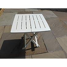 Uk-Gardens–Mesa Blanco Resina de plástico de jardín plegable ligero camping mesa auxiliar