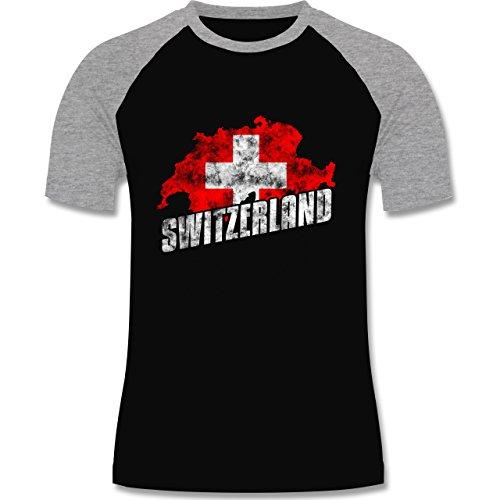 EM 2016 - Frankreich - Switzerland Umriss Vintage - zweifarbiges Baseballshirt für Männer Schwarz/Grau Meliert