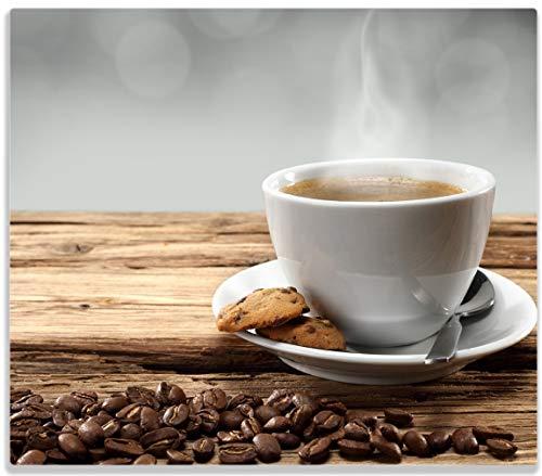 Herdabdeckplatte / Spitzschutz aus Glas, 1-teilig, 60x52cm, für Ceran- und Induktionsherde, Heiße Tasse Kaffee mit Kaffeebohnen