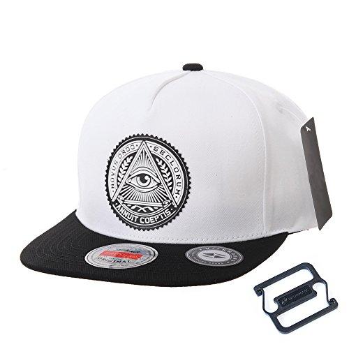 WITHMOONS Baseballmütze Mützen Caps Kappe Snapback Hat Illuminati Patch Hip Hop Baseball Cap AL2344 (White) - Obey-mütze