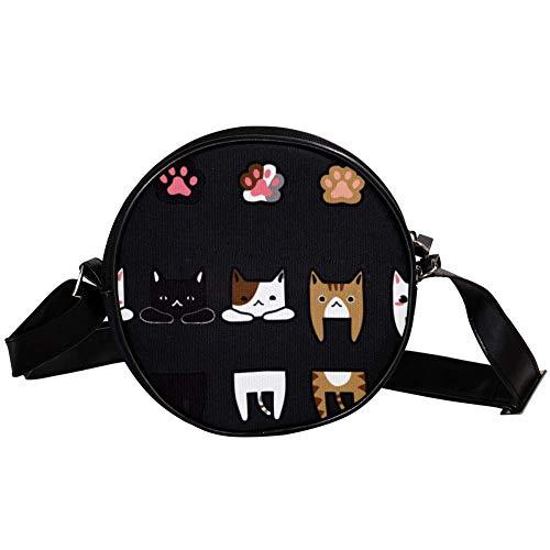 Yuzheng Katze Z45 Tier Leder Crossbody Kreis Tasche Geldbörsen Cross Body Handtaschen Trendy Taschen Doppelreißverschluss Kleine Schulter Crossbody Tasche für Kinder, Frauen, Männer