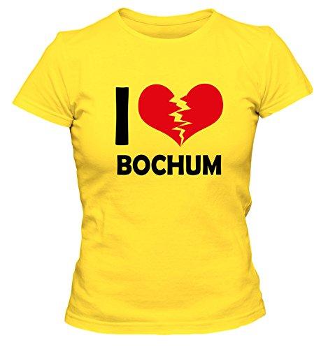 I don\'t love Bochum FUN Damen T-Shirt, Größe:XL;Farbe:gelb