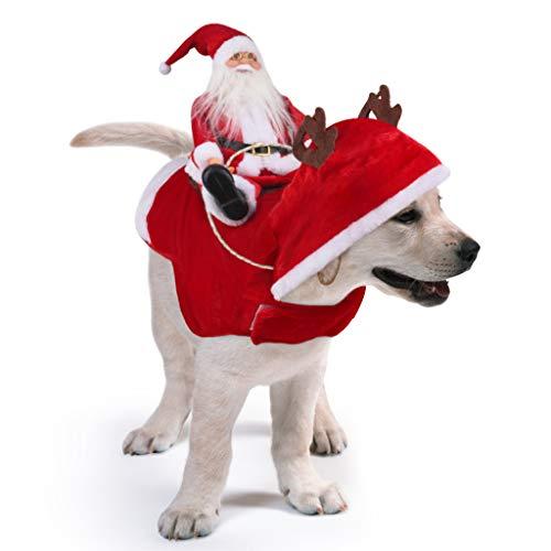 Idepet Trajes para Perros Navidad, Disfraz de Gato Navidad con Papá Noel Montado en Mascota Gato Perro Abrigo Rojo (S)