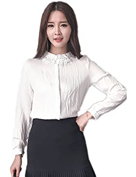 Blusa de manga larga de las mujeres encaje solapa White M