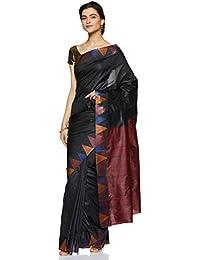 fd7ac6f22b Craftsvilla Women's Silk saree Blend with Zari border Work Traditional  Black Saree with blouse piece