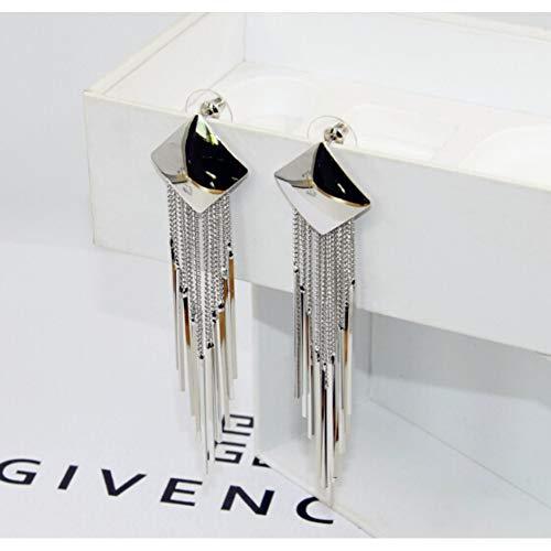 MYHMG Ohrringe Trendy Elegant Luxurious Zircon and Pearl Long Tassel Chain Drop Earrings for Women Party Earing
