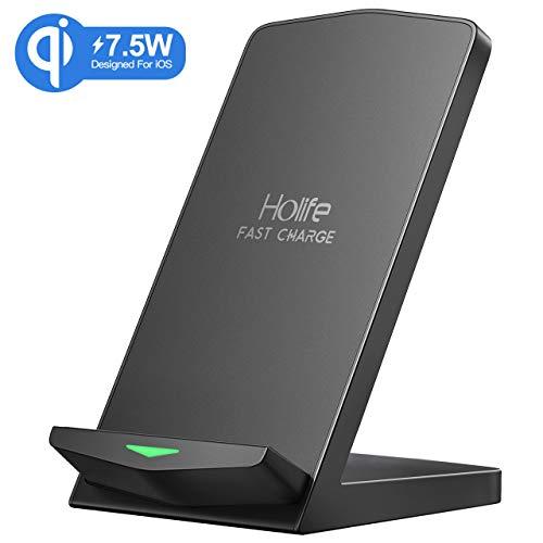 Holife Wireless Charger,10W,7.5W,5W, Starkes Qi zertifiziertes ladegerät,kabelloses Ladestation,2 Ladespulen,für Galaxy/Note, iPhone8/X und alle Anderen Qi-fähigen Handys