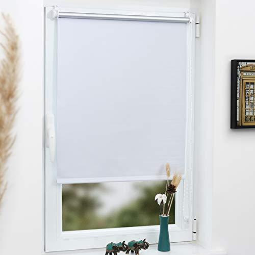 Grandekor Verdunkelungsrollo Klemmfix Thermorollo ohne Bohren 110x150cm (Stoffbreite 106cm) Weiß für Fenster und Tür - Lichtundurchlässig Verdunklungsrollo Sonnenschutz Hitzeschutz mit Oeko-TEX