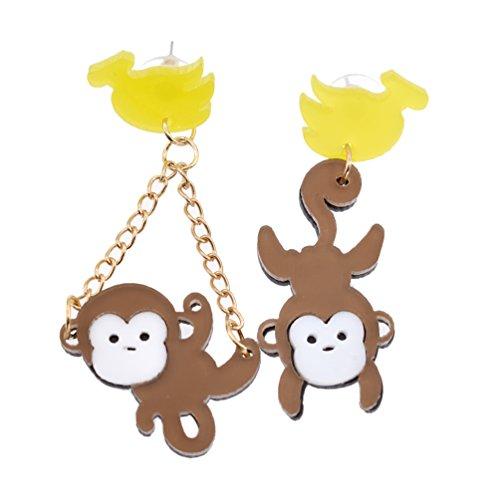 Hongma Ohrringe Earrings mit Banane Affe Anhänger Acrylic Geschenk Süß Charm Weihnachten Schmuck