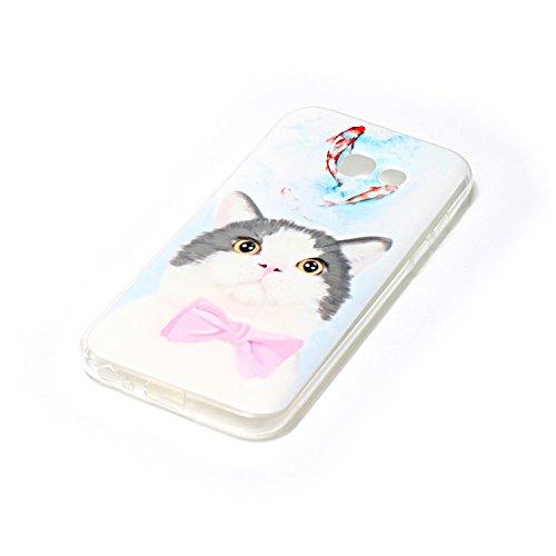 FESELE Silikon Handy Hülle für [Samsung Galaxy A5 2017], Durchsichtig Ultradünn TPU Handytasche für Samsung Galaxy A5 2017 Bunt Malerei Muster Transparente Schutzhülle Weiches Silikon Tasche Hüllen Rü Karikatur Weiß Katze