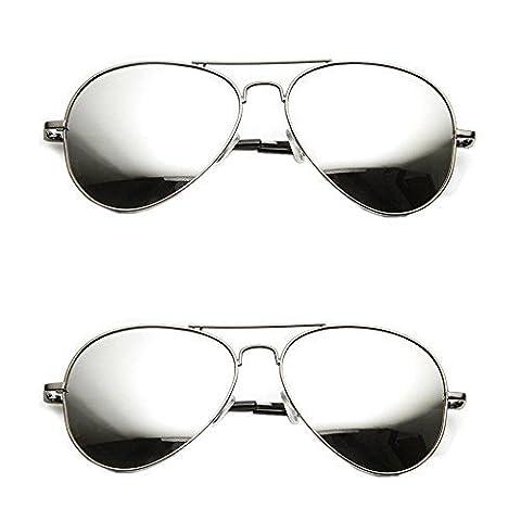 2er Set, Pilotenbrille Verspiegelt Fliegerbrille Sonnenbrille Pornobrille Brille mit Federscharnier (2x silver - silver verspiegelt)