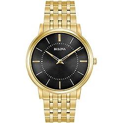 Bulova 97A127 - Reloj de Pulsera de Diseño para Hombre - Ultrafino - Acero Inoxidable - Esfera Negra - Dorado