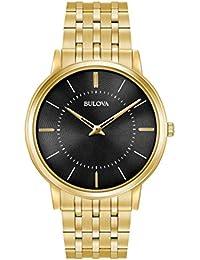 Bulova 97A127 - Montre-bracelet de créateur - pour homme - ultra-fine - bracelet en acier inoxydable - doré/cadran noir