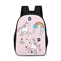 Rainbow Princess Unicorn Pattern Backpack Water Resistant Rucksack - Girls Favorite Printing Book Bags for Teens Outdoor/Go for New Semester Use