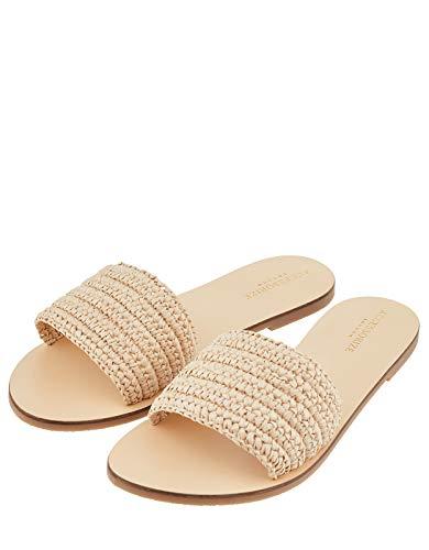 Accessorize Damen Pantoletten mit Raffiabast Sydney Sandalen - Schuhe 38