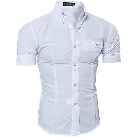 WDXshirt Camisa De los hombres Un Color Casual / Trabajo / Formal-Algodón / Poliéster-Manga Corta-Negro / Azul / Marrón / Rosa / Morado / Rojo /