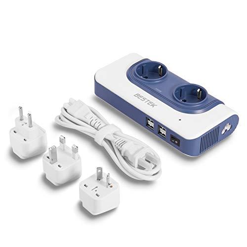 200W Spannungswandler 110v auf 230v / Reiseadapter/BESTEK Spannungswandler 110 USA mit 4 USB Reiseladegerät/Stromadapter austauschbar Reisestecker Transformator/Stromadapter Stecker für 150 Länder