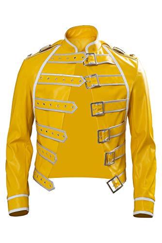 Rock Star Kostüm Deluxe - Manfis 80's King Freddie Kostüm Rockstar Jacke - Herren Jacke Gelb Freddie Mercury Jacket