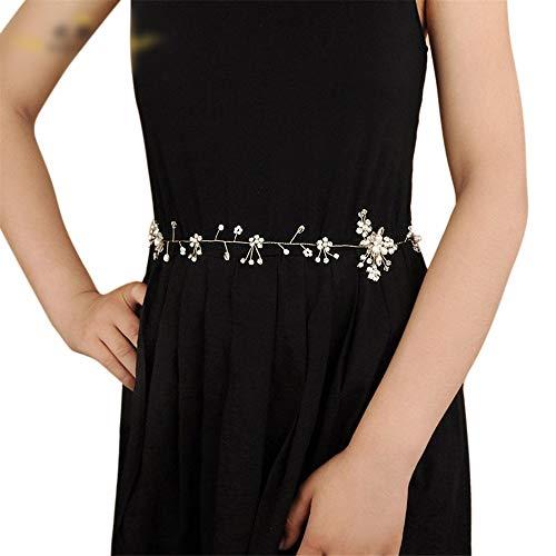 Matilda530 Brautgürtel Strass Frischwasserperlen-Kristallhochzeitskleid Zubehör Hochzeit Gürtel Bauchkette (Farbe : Champagner)