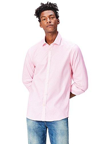 FIND Camisa Entallada Óxford Estampada de Corte Entallado para Hombre, Rosa (Pink),...