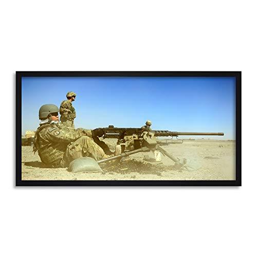 Military USA Air Force M2 50 Calibre Machine Gun Photo Framed Wall Art Print Long 25X12 Inch Militär Vereinigte Staaten von Amerika Macht Fotografieren Wand -