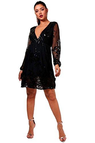 Schwarz Damen Boutique Kara Embellished Mesh Skater Dress - S (Embellished Cami)
