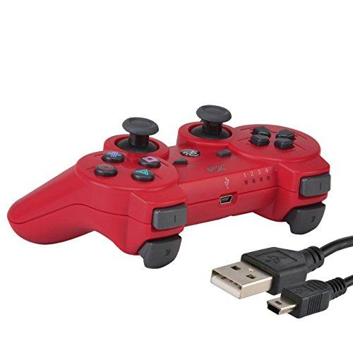 KABI Wireless Double Shock Game Controller 6-Achsen Bluetooth Gamepad Joystick mit kostenlosem Ladegerät Kabel für PlayStation 3 PS3 Controller Rot