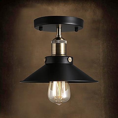 Neixy - Industrial Wrought Iron Warehouse Semi-Flush Mount Ceiling Light - Ceiling Lighting with 1 Light Black Diameter: 23