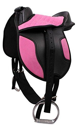 QHP Sattel-Set Shetty Kunststoff-Sattel Alu-Steigbügel m. Riemen Sattelgurt pink-schwarz