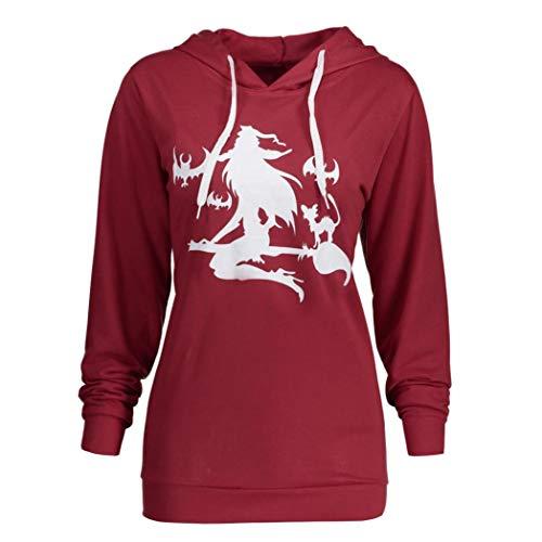 UFACE Frauen Halloween Hexe Mop Flying Print Hoodie Pullover Top Langarm Plus Size Halloween Hexe Drucken Hoodie Sweatshirt Bluse Tops(Wein,S)