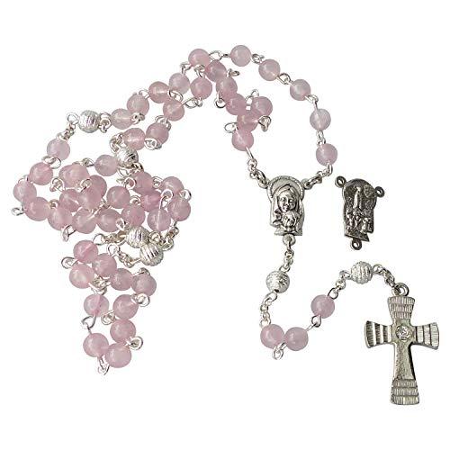 Zinngeschenke großer Rosenkranz mit 59 Perlen, gefertigt aus echtem Rosenquarz, sehr Edel, in Handarbeit gekettelt, aus eigener Herstellung. Ein Unikat zur Geburt, Taufe und Kommunion