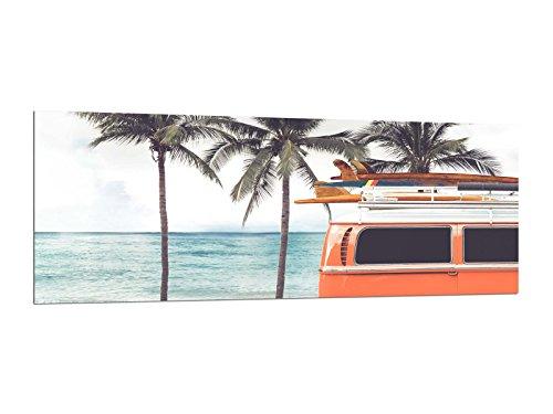 Cuadro de cristal impreso decorativo hecho a mano, 125 x 50cm VW Bus Hippies AG312502451 Vidrio Deco, Diseno & hecho a mano