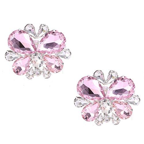 Santa Fe Crystal Schuhclip Dekorative Hochzeitsfeier Schuhzubehör Rhinestone Schuhschnalle Clips (rosa)
