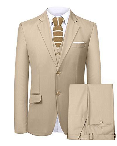 FRANK Herren Brauner Slim Fit Anzug Blazer Jacke Tux Weste & Hose 3-teiliges Anzugset -