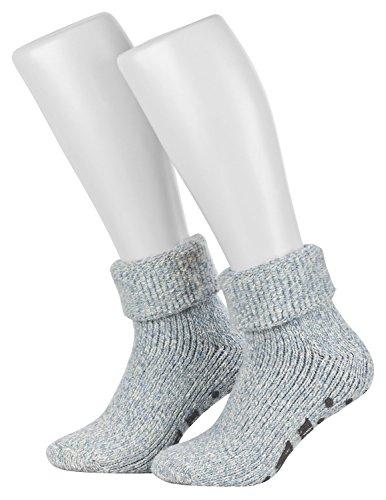 Piarini ABS Stoppersocken / Wollsocken / Wintersocken / Norwegersocken mit Innenfrottee für Damen, Herren, Jungen und Mädchen   1 Paar hellblau-meliert 39-42 (Apparel Herren Wool Socks)