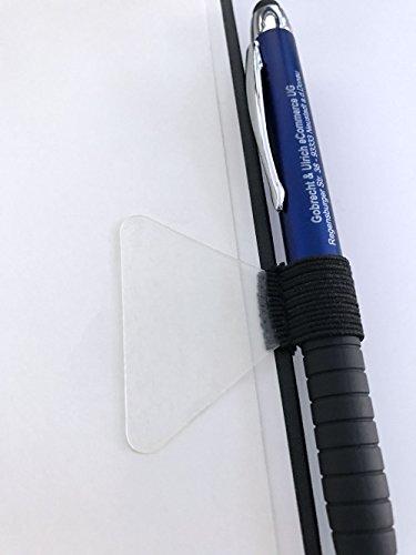 Selbstklebende Stiftschlaufe für Notizbücher (schwarze Schlaufe, transparentes Klebepad)