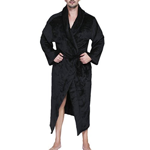 Zhhlinyuan Herren und Damen Coral Fleece Flannel Super Soft Thick Luxurious Bath Robe Morgenmäntel Shawl Collar Bademäntel Wrap Housecoat für Adults Gym Shower Spa Hotel Full Length (Wrap Front Robe)
