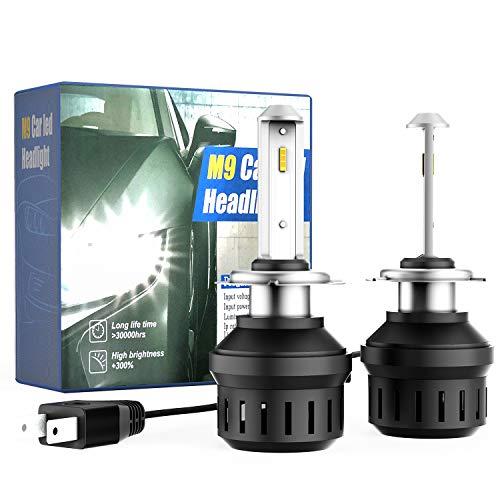 CCAUTOVIE Lampadine per fari a LED per Auto H7 Kit di conversione all in One 6500K Sostituzione del Faro alogeno Bianco 5000LM Bianco, Confezione da 2