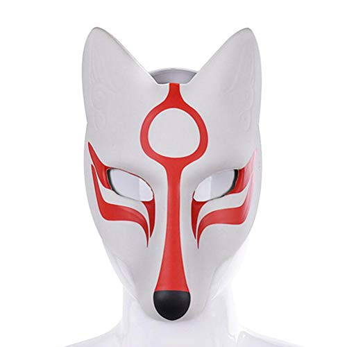 Amosfun Fuchs Cosplay Maske Halloween Maskerade Maske japanischen Kabuki Maske Halloween Christams Party Cosplay Maske Tanz Make-up Prop