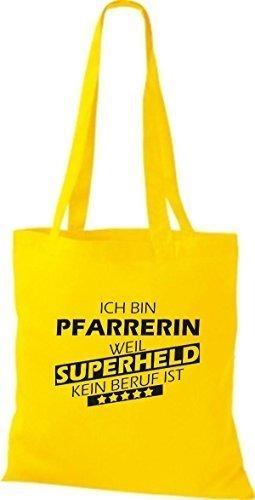 Shirtstown Stoffbeutel Ich bin Pfarrerin, weil Superheld kein Beruf ist gelb