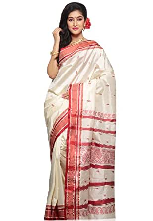 Utsav Fashion Women's Off White Pure Garad Murshidabad Silk Saree with Blouse